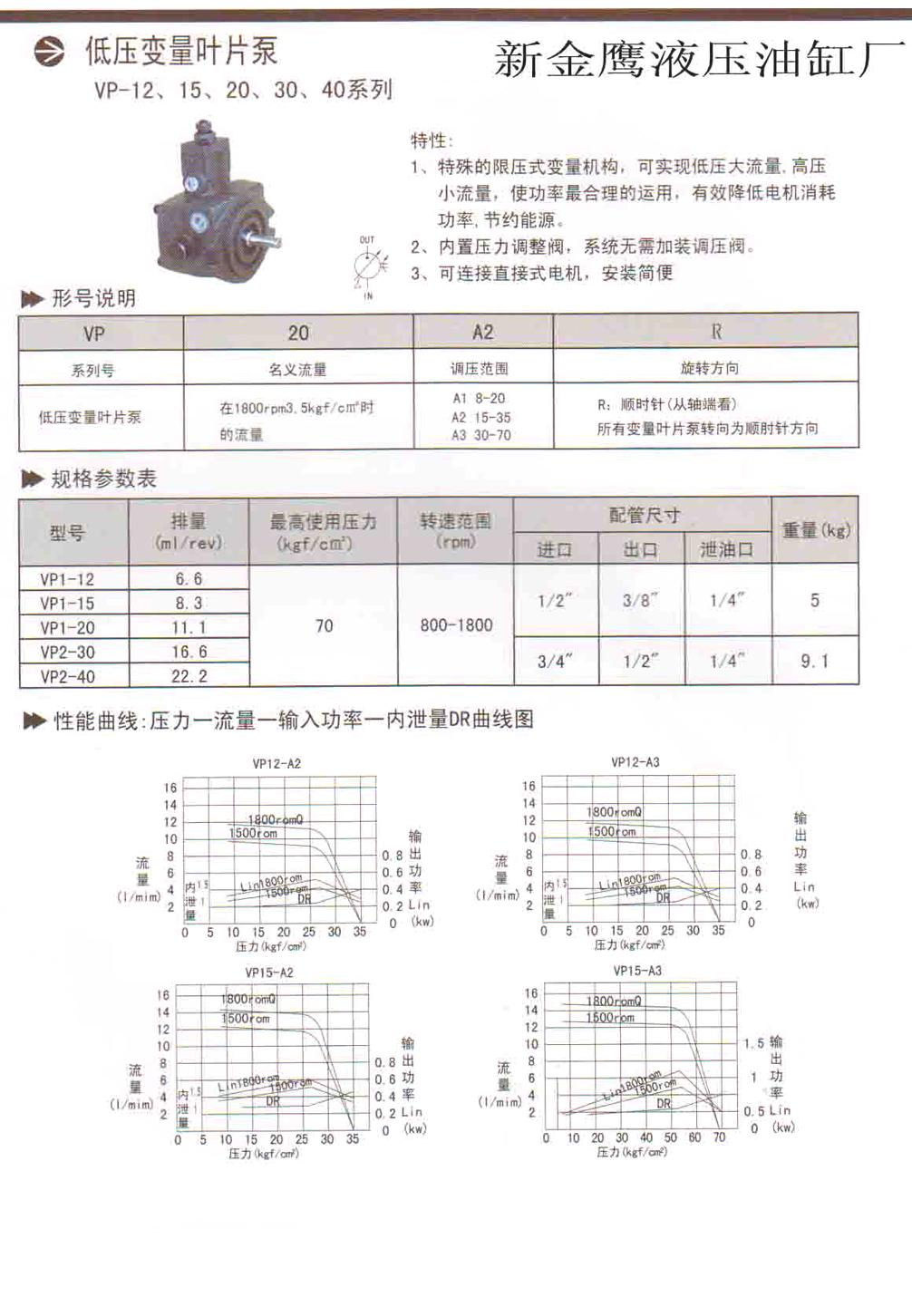 叶片泵选型使用图纸01